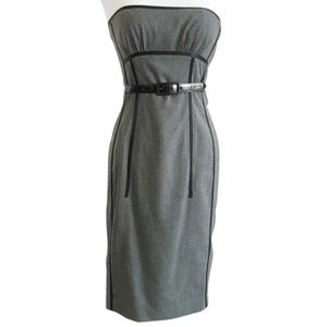 bebe • gray woven textured strapless belted dress
